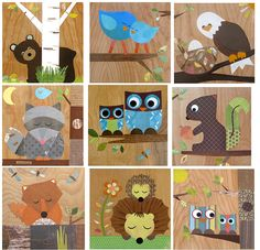 Any 2 Woodland Themed Collages - eco friendly- by Maple Shade Kids