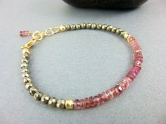 Pink Tourmaline Chakra Bracelet, 14K Gold Fill, Pyrite & Tourmaline Heart/Solar Plexus Chakras