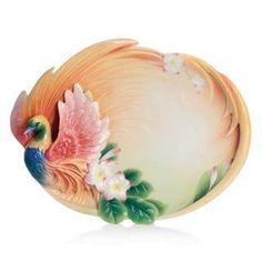 Franz Porcelain SHANGRI-LA BIRD OF PARADISE FLOWER LARGE TRAY FZ02427 New In Box