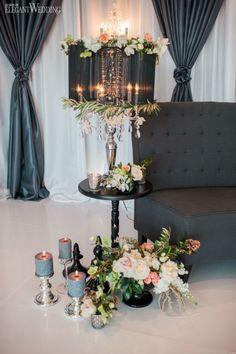 Crystal drum shades, fresh garden florals and draping for a wedding! GLAMOROUS TEA PARTY WEDDING THEME www.elegantwedding.ca