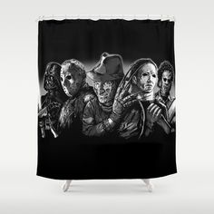 Freddy Krueger Jason Voorhees Michael Myers Leatherface Darth Vader Blackest Of The Black Shower Curtain