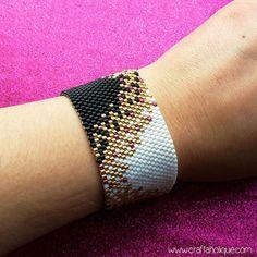 Peyote Stitch Beading Pattern for Beaded Cuff Bracelet in