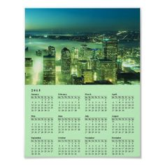 Seattle Emerald Moon and Stars 2015 Calendar