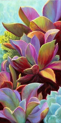 Rainbow Succulent - does anyone know the actual name of this? I have it and it looks good w/ my succulents but I don't believe it is one. This is a painting, but try Echeveria 'Afterglow' for the real thing. Cacti And Succulents, Planting Succulents, Garden Plants, Planting Flowers, Succulents Painting, House Plants, Flora Garden, Succulent Gardening, Indoor Gardening