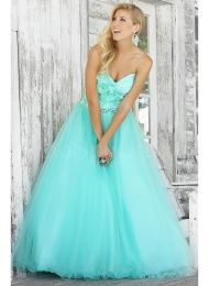 Beautiful Tulle Sweetheart Neckline Organza Flowers Ball Gown Prom Dress