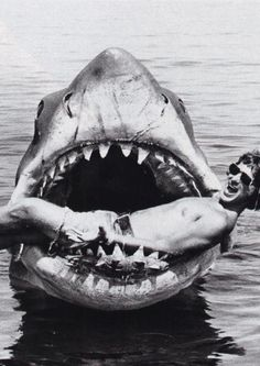 "on the set of ""Jaws"""