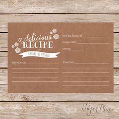 kraft paper / printable / bridal shower recipe card by paperhive