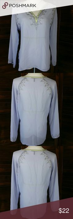 "Beaded Tunic Beutiful sheer lilac tunic with seed beads and tiny sequins sewn around the neckline, arm top & sleeve cuffs. 100 % Polyester  20.5 "" across chest lying flat, 26.5 "" long Daisy Fuentes Tops Tunics"