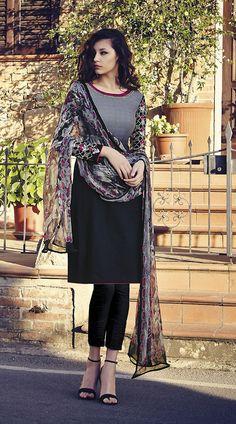 Fantastic Sleeves Embroidered Black Cigarette Pant With Kameez
