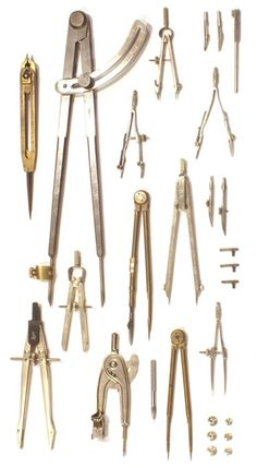 Things Organized Neatly - Collection of compasses from the office of Atelier & Company - Antique Tools, Old Tools, Vintage Tools, Midori, Drafting Tools, Things Organized Neatly, Collections Of Objects, Instruments, Machine Tools