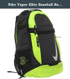 Nike Vapor Elite Baseball Backpack Bag in Black and Volt. BRING YOUR GAME WITH YOU The Nike Vapor Elite Baseball Bat Backpack delivers durable storage for your essentials with tough fabric, large zip compartments and adjustable straps for easy carrying. BENEFITS Tough 600D polyester with a water-resistant bottom for protection Two bat sleeves, cleat compartment and storage for everything else. Padded shoulder straps and a fence hook for hanging.