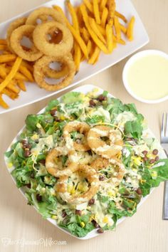 Southwest Salad Recipe with Spicy Honey Mustard Dressing Recipe - an easy salad recipe that's perfect for lunch or dinner. Onion Rings on a salad? Easy Salad Recipes, Easy Salads, Southwest Salad Recipe, Baked Onion Rings, Homemade Honey Mustard, Honey Mustard Dressing, Spicy Honey, Macaroni And Cheese, Lunch