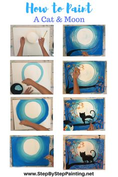 Step by step painting. Learn how to paint a cat and moon with Tracie's acrylic canvas painting tutorials! All tutorials are free and meant for beginners.