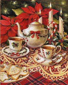 Pretty Christmas Tea Party... Sandy Claugh illustration....eeewwwww, I would love to be at this tea party!