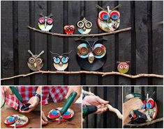DIY Cute Owl Decoration from Recycled Lids  Pinned by www.myowlbarn.com