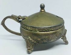 Antique brass Engraved Sugar Small Bowl Candy Dish Jam Jar With Lid Handle Deco | eBay