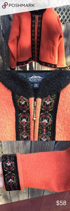"""Wool Icelandic jacket Fabulous color, beautifully made and detailed. lined, including sleeves, Warm! Such a pretty, classic piece. 20"""" pit to pit. 24"""" long. icelandic Designs Jackets & Coats"""