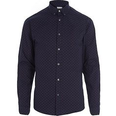 NAVY JACK & JONES PREMIUM POLKA DOT SHIRT £30.00 http://www.riverisland.com/men/shirts/long-sleeve-shirts/Navy-Jack--Jones-Premium--285046