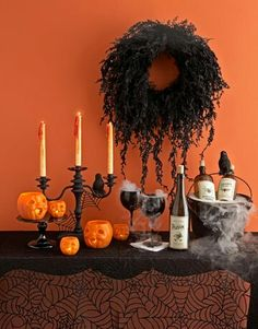 Drink Halloween display. Dry ice gives a wow effect.