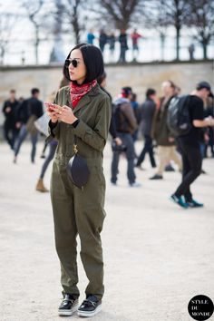 boiler suit & bandana. #YoyoCao in Paris.