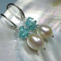 White Freshwater Pearl and Apatite Dangle Earrings   by kauainanidesigns, $32.00