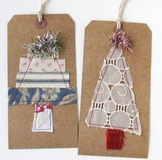 Tag art pair of large Christmas Trees by ColetteCopeland on Etsy Christmas Sewing, Christmas Wrapping, Christmas Tag, Christmas Projects, Handmade Christmas, Christmas Decorations, Christmas Ornaments, Large Christmas Tree, Holiday Gift Tags