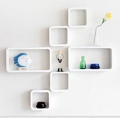 SET OF 6 Wall Cube & Rectangle Shelves Storage Display White/Back in store New | eBay