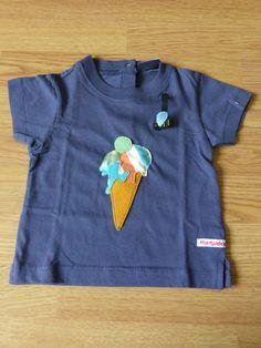 Camiseta personalizada a mano con piedras sintéticas, telas y fieltro. Gelat, Helado, Ice cream, Glace.