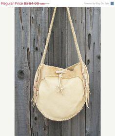 Leather drum bag Buckskin leather crossbody bag door thunderrose