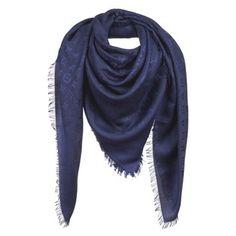 Louis Vuitton LOUIS VUITTON MONOGRAM SHAWL BLEU_NUIT SCARF DARK BLUE