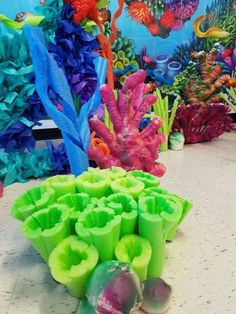 Pool noodles and spray insulation foam coral Shared by SPCN Under The Sea Theme, Under The Sea Party, Ocean Party, Luau Party, Shark Party, Little Mermaid Parties, The Little Mermaid, Under The Sea Decorations, Boutique Deco