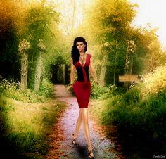 https://flic.kr/p/ExNGaF | Walking | TETRA - Metallic Bandage Dress (Strawberry) at Kustom9 Glitter poses - Challenge Set