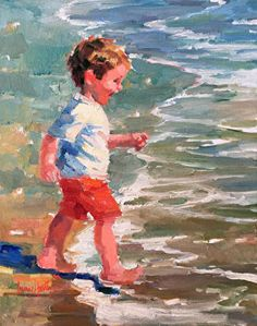 Tag With The Waves by Corinne Hartley Oil ~ 20 x 16