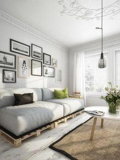 Sofa Palete com parede de quadrinhos para a entrada....