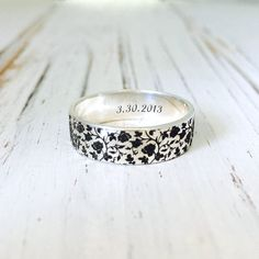 Rose Ring/Floral Ring/Flower 4mm and 6mm Sterling Silver Ring/Personalized Engraved FLAT BAND/Mother's gift/Friend gift by NaosJewel on Etsy