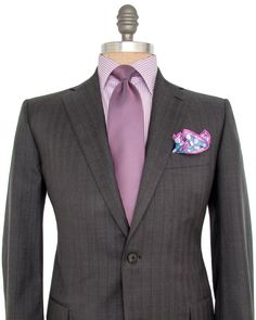 Grey with Plum Pin Stripe Suit