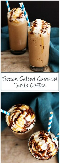 A delicious and simple frozen salted caramel turtle coffee drink. This link can tell you more about the Ibotta offer!--> via Berly's Kitchen Delicious Desserts, Dessert Recipes, Drink Recipes, Chocolate Shake, Frozen Drinks, Coffee Recipes, Kitchen Recipes, Iced Coffee, Creme