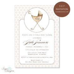 Neutral Baby Pram Invitation — Sugar B Designs Baby Shower Invitation www.sugarbdesigns.com #invitation #invitations #babyshower #babyshowerinvite #babyshowerinvitations #watercolor #stationery