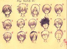 How to draw anime boys hair