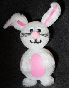 Craft: make Easter bunnies from chenille stems and Styrofoam balls with craft instructions by Craft Elf.