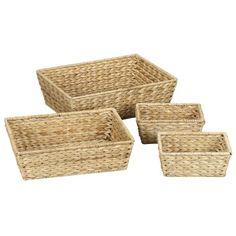 Household Essentials Set of 4 Banana Leaf Storage Utility Baskets, Natural - essentials organization code