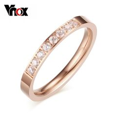 Vnox 3mm CZ Stone Rings for Women Rose Gold-Color Cute Lady Wedding Bands Stainless Steel  #Affiliate