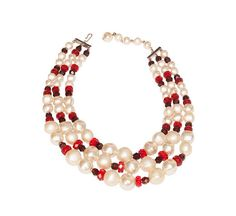Pearl & Red Bead Necklace Multi-Strand by MadgesHatboxVintage