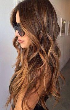 brunette hair with soft caramel balayage