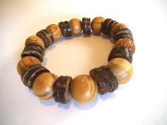 Men's Stretch Chunky Wood Bracelet Men's by TerriJeansAdornments