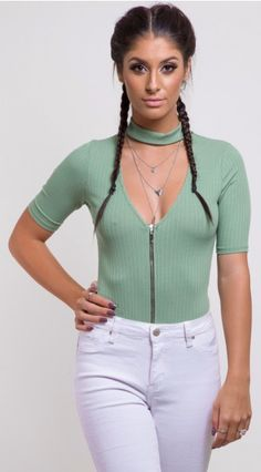 201811a-olive-1 Must Haves, Shop Now, Bodysuit, Zipper, Womens Fashion, Shopping, Clothes, Tops, Style