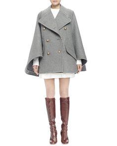 Chloe Double-Breasted Cape Coat & Long-Sleeve Asymmetric Dress