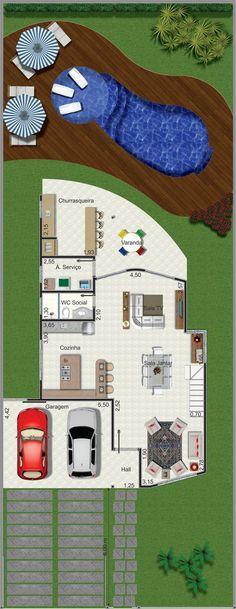 Projeto de sobrado de 3 quartos com 151,64m²
