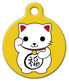 Maneki Neko Pet ID Tag for Dogs and Cats - Dog Tag Art ^^ Stop everything and read more details here! : Dog tags for pets Dog Tags Pet, Cat Id Tags, Neko Cat, Maneki Neko, Personalized Dog Tags, Dog Id, Cat Collars, Tag Art, Pets