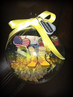 blown glass Christmas tree ornament made for yourself or for your favorite soldier. What a way to show your gratitude to our troops! Army Crafts, Military Crafts, Military Party, Army Party, All Things Christmas, Christmas Time, Christmas Crafts, Christmas Decorations, Homemade Decorations